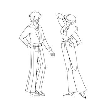 Мода 1970 год диско стиль молодых людей черная линия карандашный рисунок вектор. мужчина и женщина в модной одежде 1970 года, ретро-костюм. персонажи, винтажные стильные одеты, иллюстрация гламурной одежды