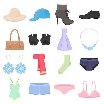 Fashion accessories cartoon vector icon set. vector illustration fashion accessories .
