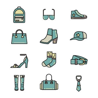 Fashion accessories color line vector