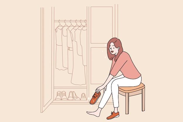 ファッションとフィッティングの新しい靴のコンセプト