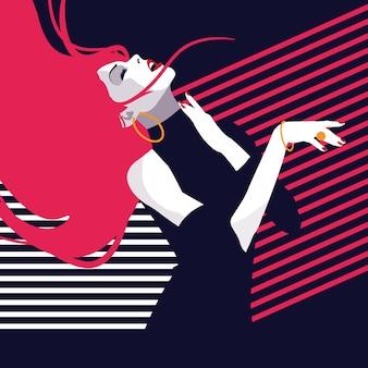 ファッションとスタイリッシュな女性のポップアートスタイル。