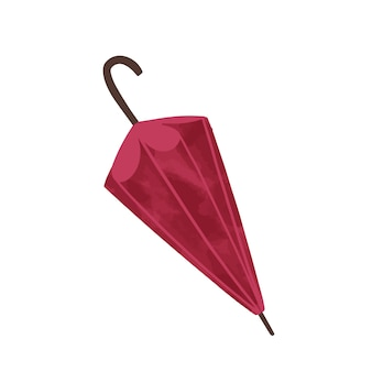 Fashion autumn accessories red umbrella illustration. hand drawn protection from rain trendy clothing isolated on white
