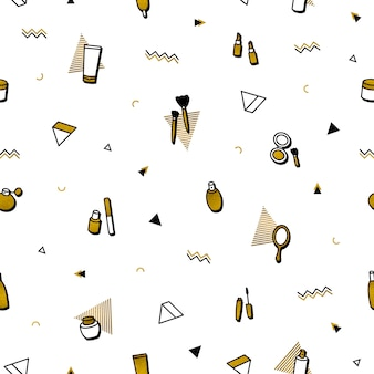 Fashion background. gold cosmetics seamless pattern in memphis style.