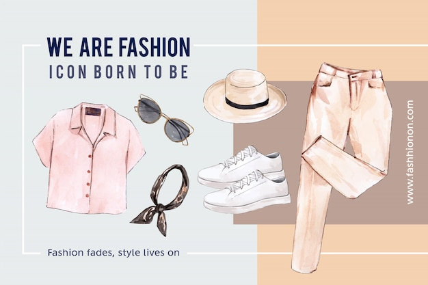 Fashion background with  shirt, sunglasses, pants, shoes