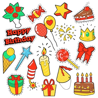 Модные значки, патчи, наклейки на тему дня рождения. с днем рождения элементы партии в стиле комиксов с тортом, воздушными шарами и подарками. иллюстрация