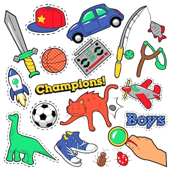 Fashion badges, patches, stickers boys theme. toys, sports, car and music recorder in comic style.  illustration