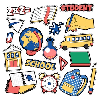 Fashion badges, patches, stickers in comic style education school theme with books, globe and backpack.  retro background