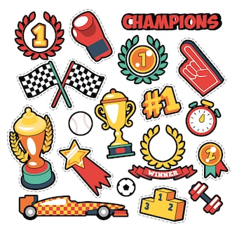 컵, 메달 및 스포츠 장비가있는 만화 스타일 챔피언 테마의 패션 배지, 패치, 스티커. 레트로 배경