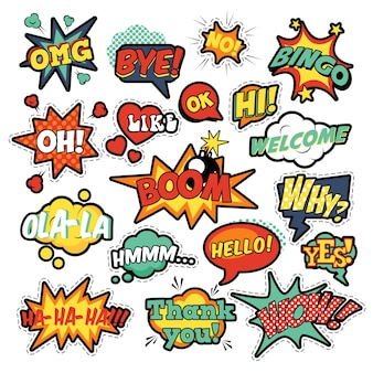 Модные значки, патчи, наклейки в пузырях комиксов в стиле поп-арт с полутоновыми точками и крутыми фигурами с выражениями wow, bingo, like. ретро фон