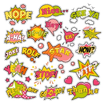 Fashion badges, patches, stickers in pop art comic speech bubbles set with halftone dotted cool shapes.  retro background