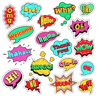 Fashion badges, patches, stickers in pop art comic speech bubbles set with halftone dotted cool shapes with expressions wow, bingo, like.  retro background