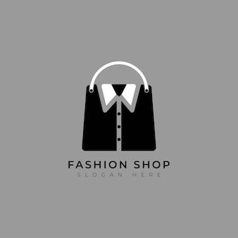 シャツのシンプルなロゴテンプレートで買い物をするファッションバッグ