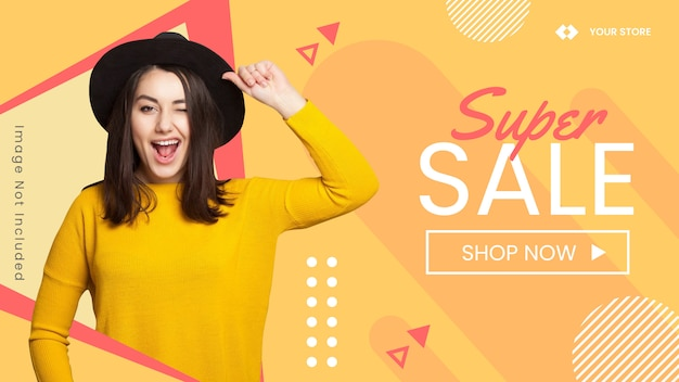 Fashion banner background, web banner and billboard for fashion promotion. funny design concept.