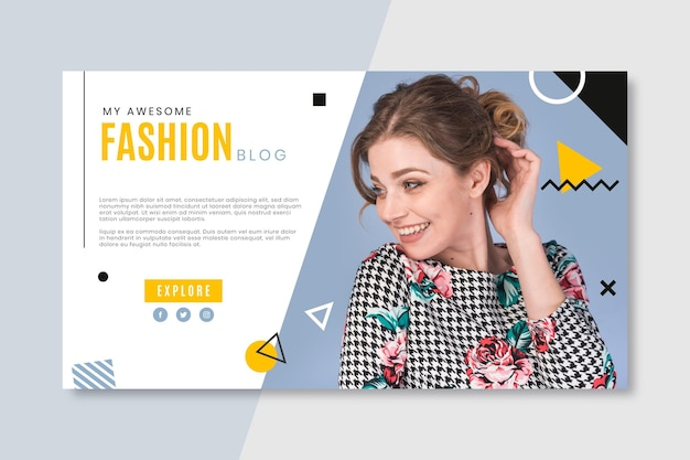 Fashion banner blog with photo