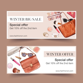 Fashion banner design with bags, cosmetics
