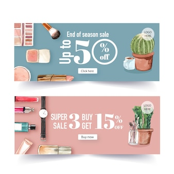 Fashion banner design with cosmetics and outfit