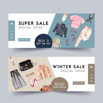 Fashion banner design with outfit, camera case, accessories