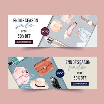 Fashion banner design with perfume, outfit, accessories