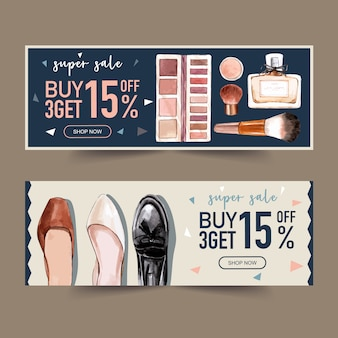 Fashion banner design with perfumes, shoes