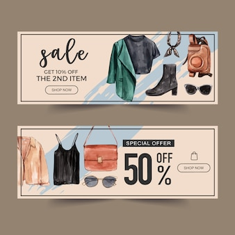 Fashion banner design with shirt, bag, camera case
