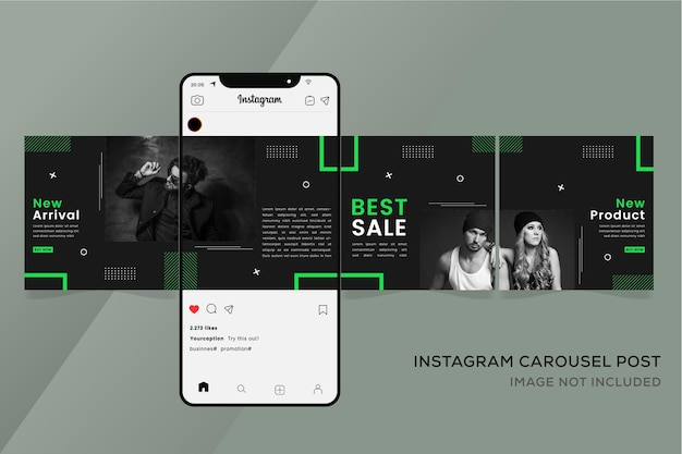 Fashion banner for instagram seamless carousel templates