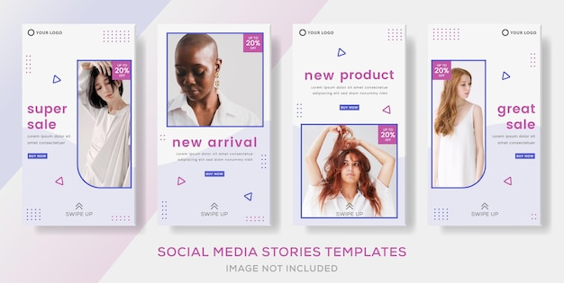 Fashion banner for media social template stories post premium vector