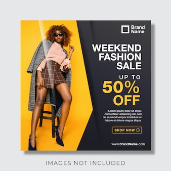 Fashion banner for social media post template