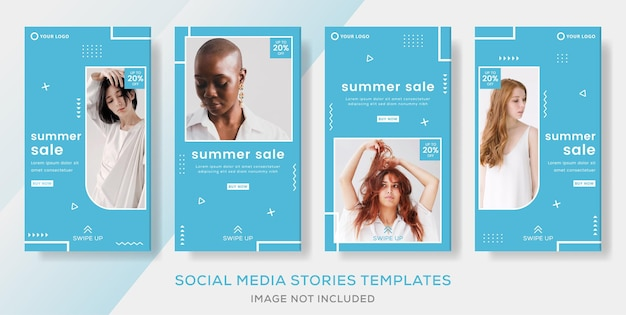 Fashion  banner for summer sale template stories post premium vector