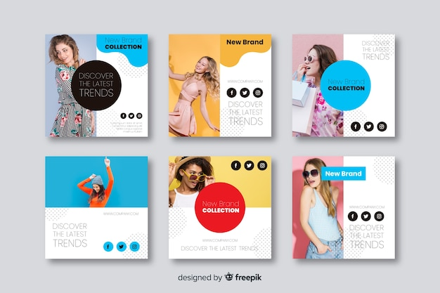 Fashion banner templates for social media
