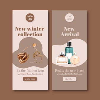 Fashion banner with accessories, perfume