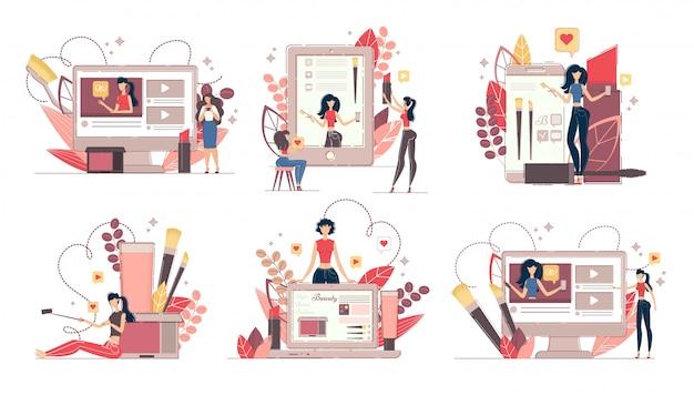 Fashion blog and beauty vlog in social media set