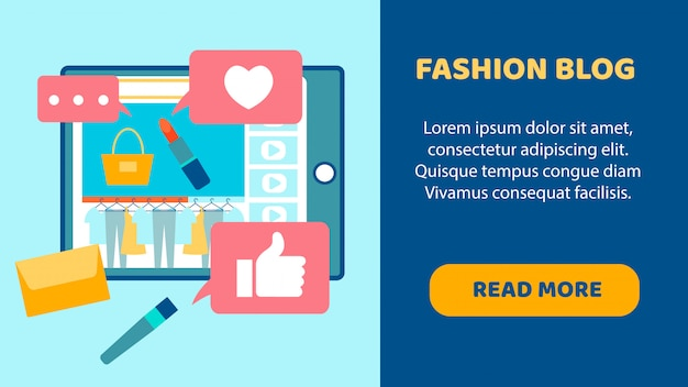 Fashion blog flat landing page vector template