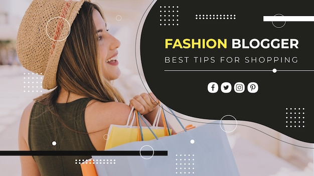 Fashion blogger youtube cover template