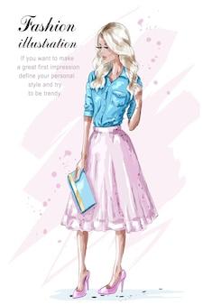 ピンクのスカートのイラストでファッションブロンドの女の子