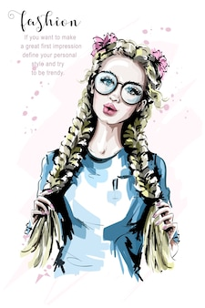 Fashion blonde hair woman with two braids