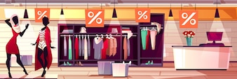 Fashion boutique interior illustration of women clothes and dresses sale.