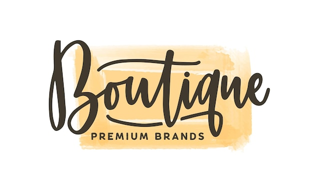 Модный бутик логотип векторные иллюстрации. премиум магазин одежды акварель логотип с надписью на фоне мазков желтой краской. надпись магазин одежды мазками кисти акварель.