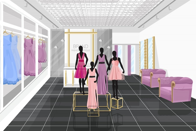 Fashion boutique with dresses