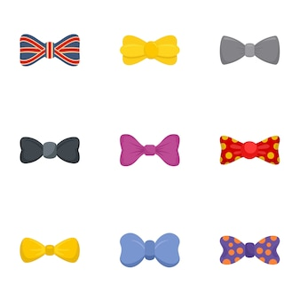 Fashion bow tie icon set, flat style