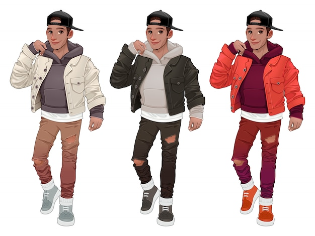 Fashion boy in three different versions