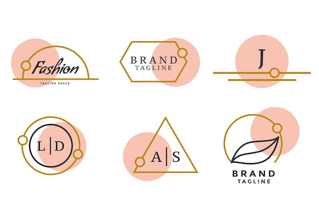 Fashion brand logos or monograms set of six