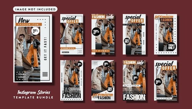 Fashion branding social media story template set bundle