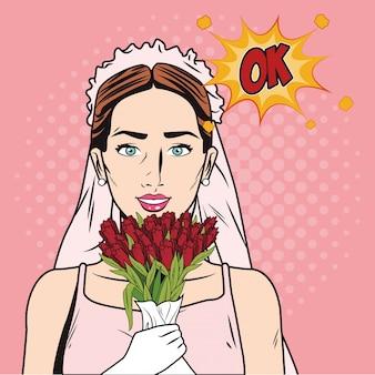 Fashion bride pop art cartoon