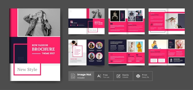 Fashion brochure design template or red color company profile brochure template annual report
