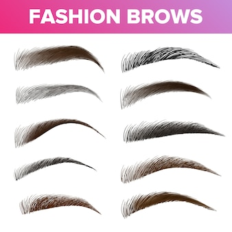 Fashion brows various shapes and types