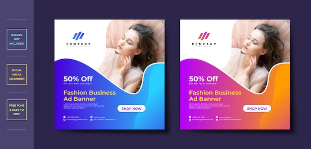 Fashion business social media post banner template