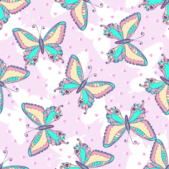 Fashion butterflies pattern. vector illustration for fabric or wrapping paper. summer print design