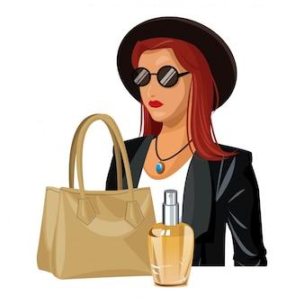 ファッション服ベージュのハンドバッグと香水瓶