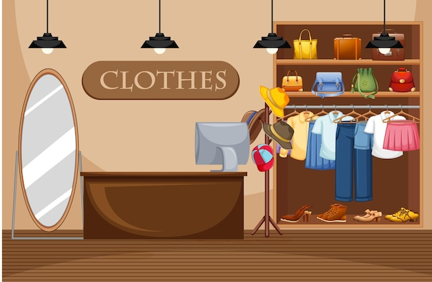 Fashion clothes store illustration