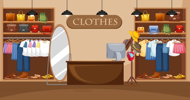 Иллюстрация магазина модной одежды